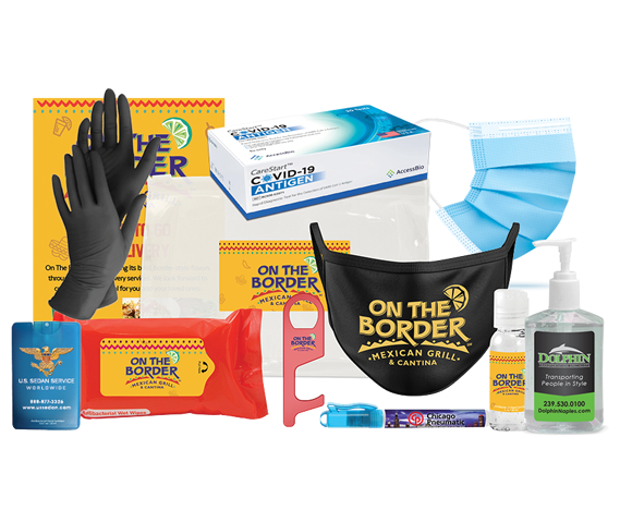 PPE, customized with your branding. Hand sanitizers, masks, gloves, wipes
